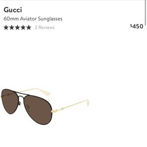 Gucci 60mm black and gold aviator